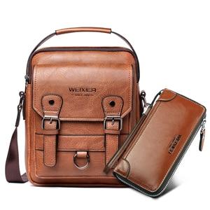 """Image 1 - Business Männer Schulter Tasche PU Leder Männlichen Messenger Bags Retro Männer Crossbody tasche für 10.5 """"Ipad Reise Zipper Männlichen handtaschen"""