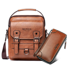 "Business Men Shoulder Bag PU Leather Male Messenger Bags Retro Men Crossbody Bag for 10.5"" Ipad Travel Zipper Male Handbags"