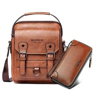 """Image 1 - Iş erkek omuz çantası PU deri erkek postacı çantası Retro erkekler Crossbody çanta 10.5 """"Ipad seyahat fermuar erkek çanta"""