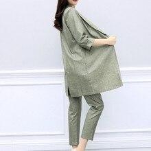 Women Casual Cotton Linen Blazer Two Piece Set Elegant Ladies Office Work Conjun