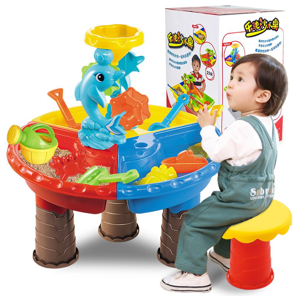 Kuulee 1 Set Children Beach Table Sand Play Toys Set Baby Water Sand Dredging Tools Color Random