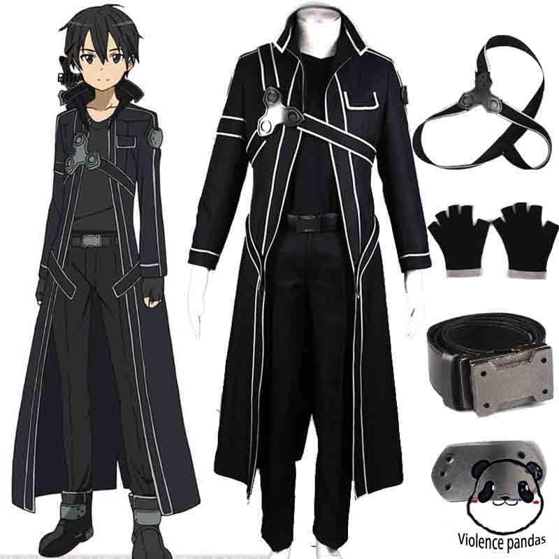 HOT Anime Sword Art Online Kirito Kazuto Kirigaya Cosplay Black  Costume