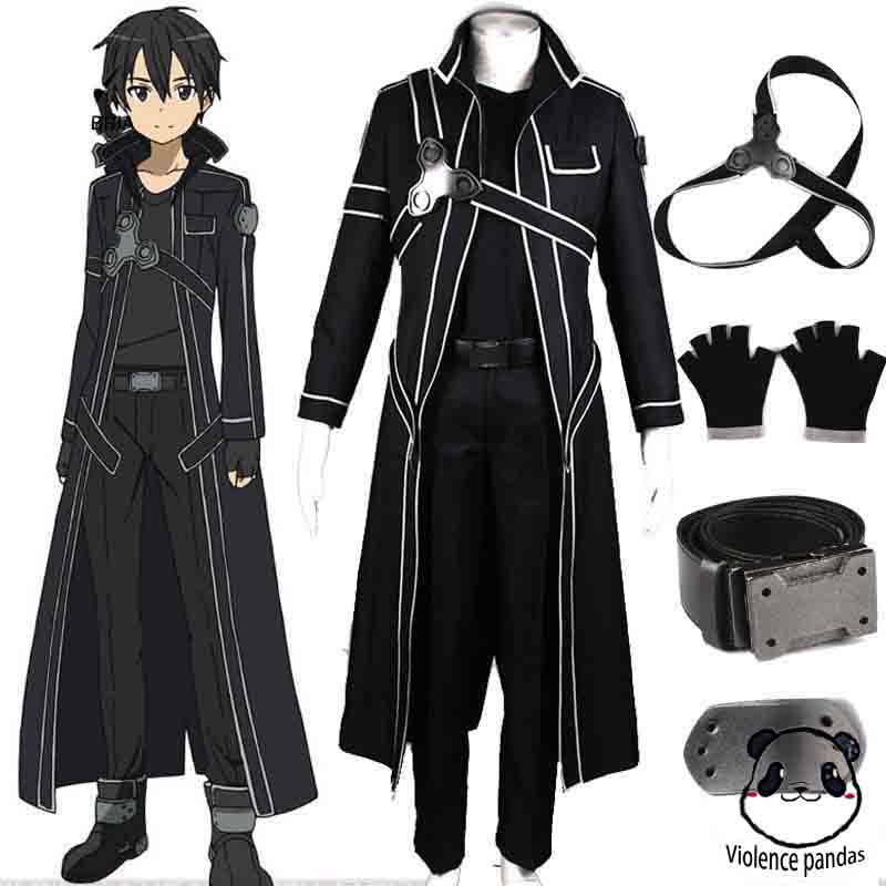 HOT Anime Sword Art Online Kirito Cosplay Costume Fancy Halloween Costumes For Adult Men Kirito SAO Kirigaya Kazuto Costume Suit