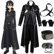 Quente anime espada arte on line kirito cosplay fantasia trajes de halloween para adultos kirito sao kirigaya kazuto traje terno