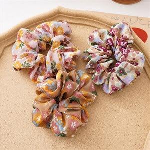 Женские резинки для волос с цветочным принтом, резинки для хвостиков, аксессуары для волос