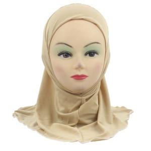 Image 3 - الفتيات المسلمات الاطفال الحجاب الإسلامي وشاح شالات لا الديكور لينة وتمتد المواد لمدة 2 إلى 7 سنوات الفتيات بالجملة