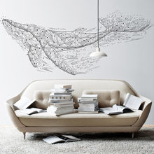 3D Minimalism Geometric Whale Vinyl Wall-Stickers Waterproof Living Room Decoration Mural Art Self-Adhesive Wallpaper Posters