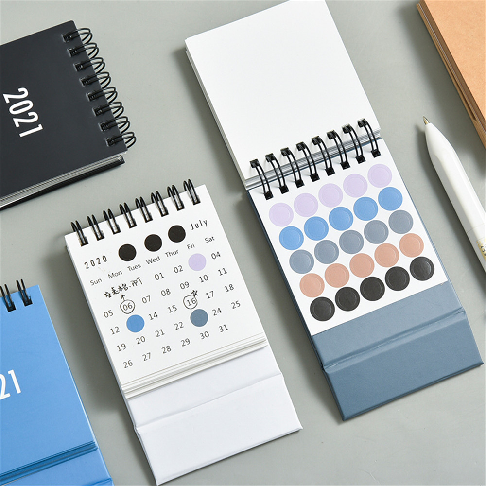 2021 2021 Simple Desktop Calendar Solid Color Series Dual Daily Schedule Planner Yearly Agenda Organizer Office Accessories 5