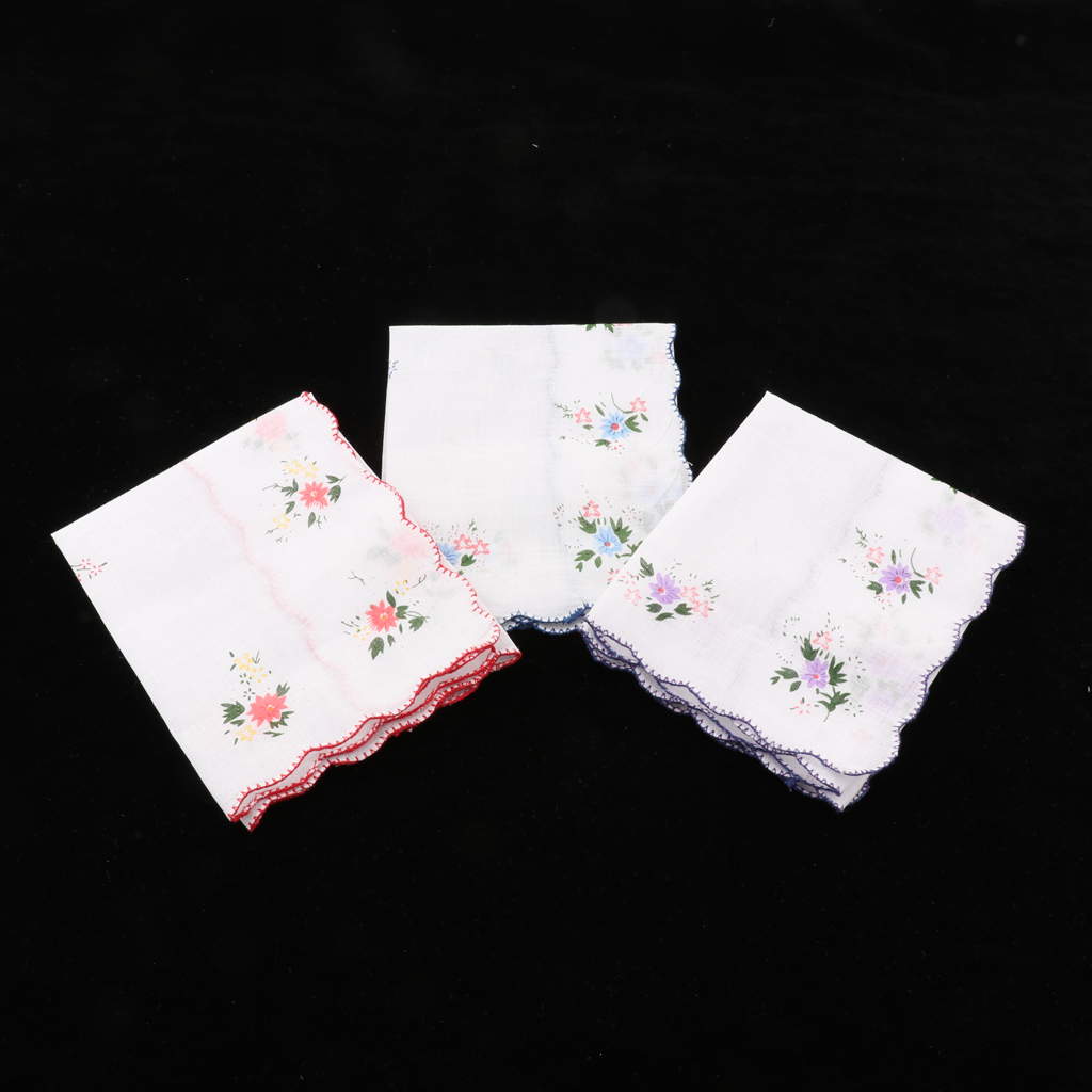 3pcs Ladies Flower Handkerchiefs 100% Cotton Handkerchiefs Approx. 35 X 35 Cm Pocket Square носовые платки Good Gfit