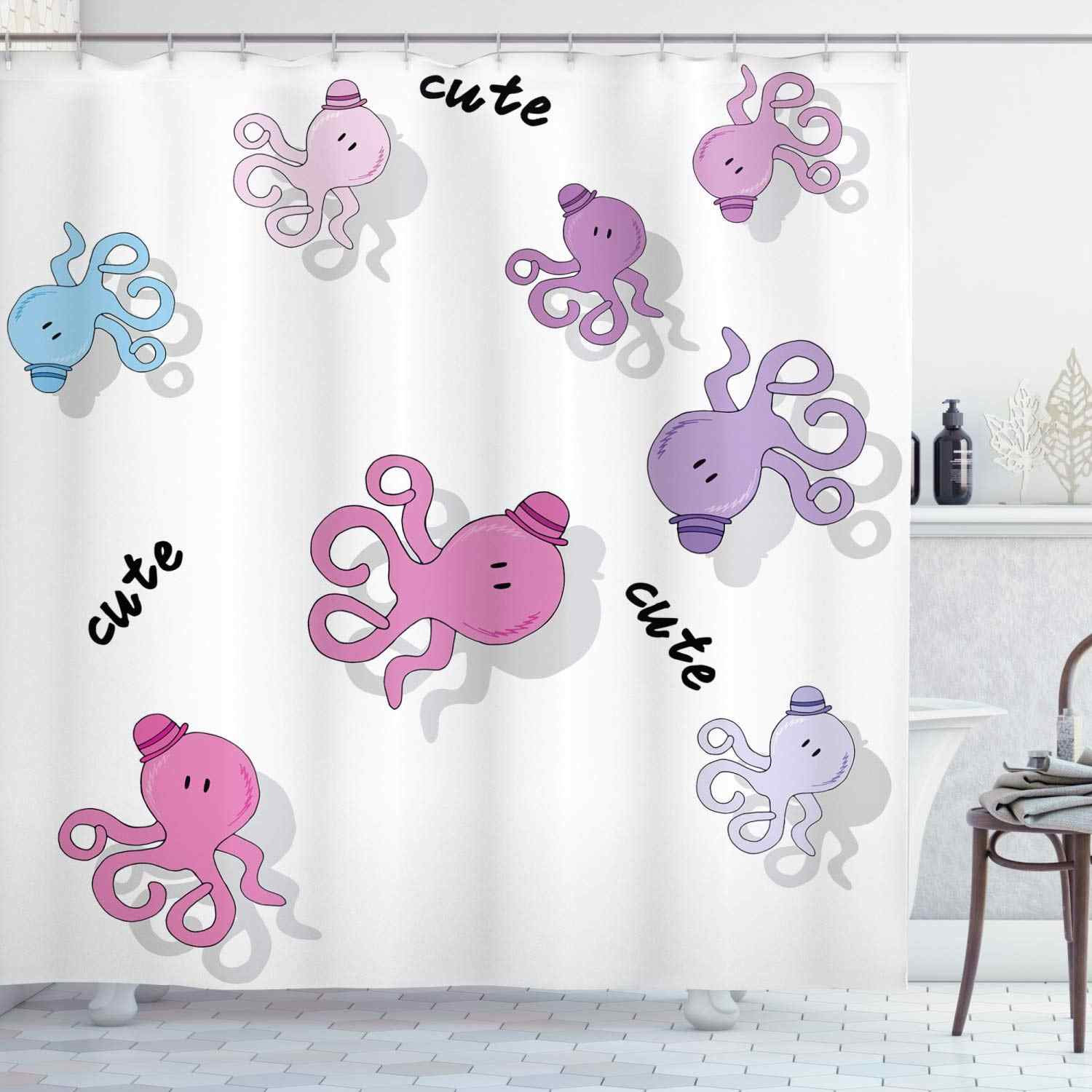 Feminine Shower Curtain Octopus Pattern Colorful Drop Shadow
