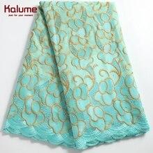 Kalume-tela de encaje de algodón suizo y africano, gasa Suiza bordada, con piedras para costura nigeriana, 2243