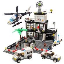 Kazi시 경찰서 헬리콥터 보트 트럭 기술 자동차 빌딩 블록 어린이를위한 미니 벽돌 그림 장난감 소년
