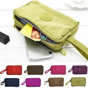 Short Wallet Makeup-Bag Key-Purse Coin-Card Canvas Womens Fashion Zipper Solid 3-Layer