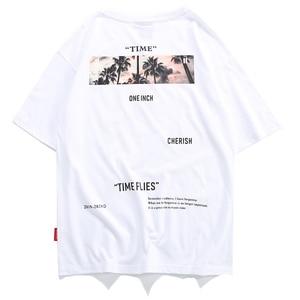 Image 4 - Aelfric Eden Hip Hop Streetwear Shirt Mannen 2020 Zomer Tijd Vliegt Print Korte Mouw Hawaiian Tops Tees Man Katoenen T shirts zwart