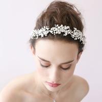 Handmade Bride Crystal Hairband Bridal Headband Silver Tiara Crown Wedding Hair Accessories