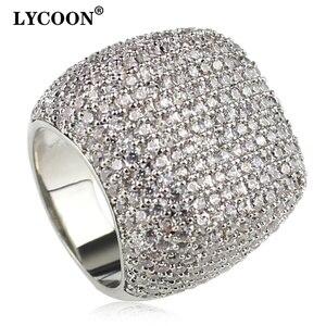 Image 1 - Anillo cuadrado de LYCOON para mujer, sortija de boda de lujo de circonia cúbica con incrustaciones chapadas en plata, anillos de compromiso elegantes para mujer