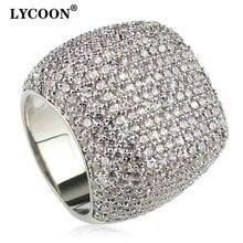 LYCOON Elegant Square แหวน Silver Inlay Cubic Zirconia แต่งงานแหวนผู้หญิง Graceful หมั้นแหวน