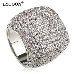 Image 1 - LYCOON Elegant square ring silver plated inlay  Cubic Zirconia luxury wedding rings woman graceful Engagement rings