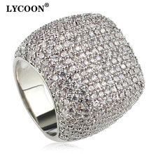 LYCOON אלגנטי כיכר טבעת כסף מצופה שיבוץ מעוקב Zirconia יוקרה חתונה טבעות אישה חיננית אירוסין טבעות