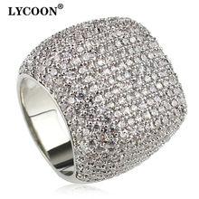 Lycoon элегантное квадратное кольцо с серебряным покрытием инкрустированные