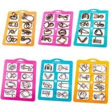 8 Pçs/set Metal Fio QI Mente Cérebro Teaser Puzzles Montessori Crianças Adultos Jogo Interativo Apaziguador Brinquedos Educativos TH0075