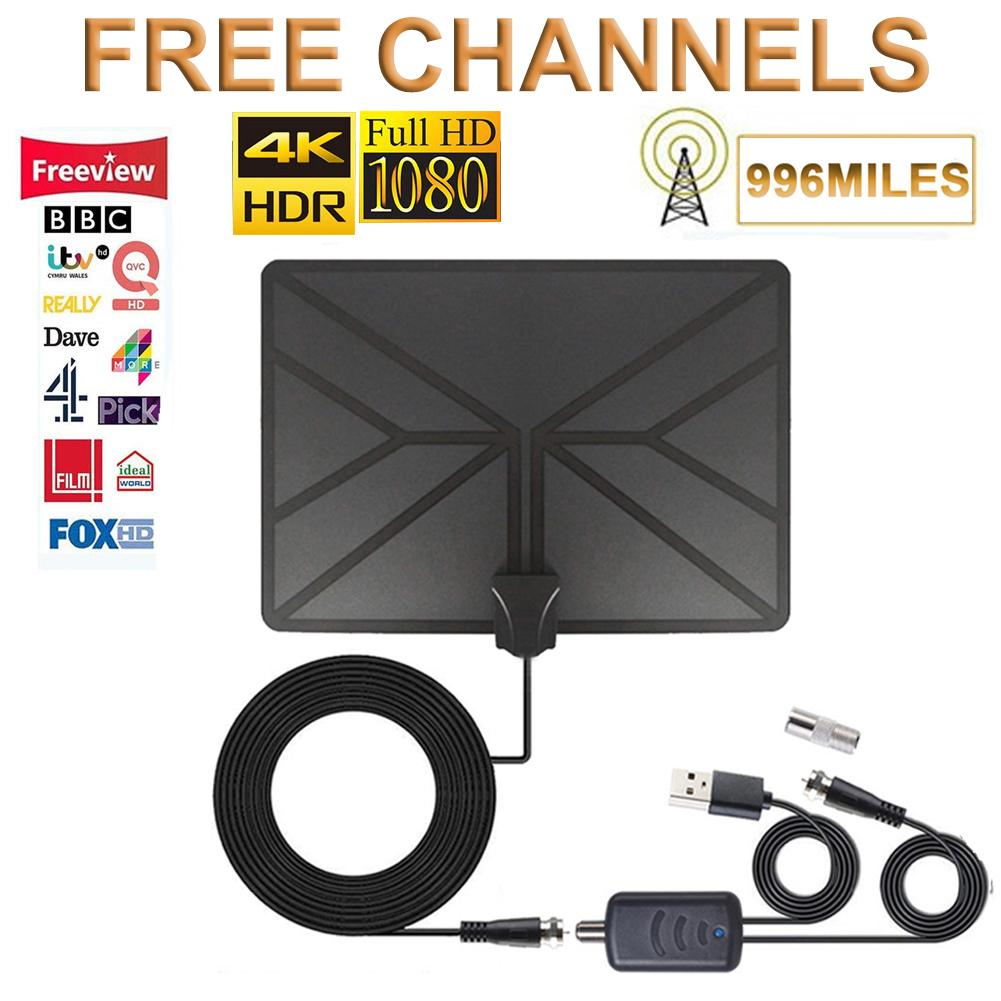 996 Miles Range Antenna 4K Digital HDTV Aerial Indoor Amplified With HD1080P DVB-T2 Freeview TV For Life Local Channels