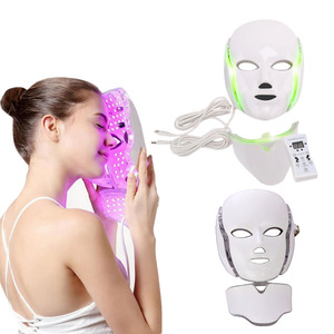 LED Facial Mask With Neck Skin Rejuvenation Face Care Beauty Reduce Acne Wrinkle Therapy Whitening Freckless 3 7 Colors Light