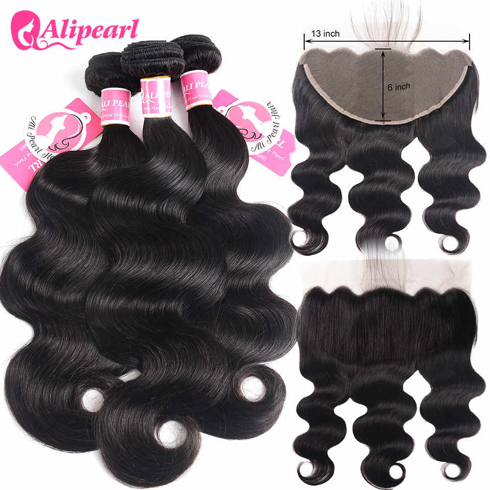 Alipearl Hair Body Wave Human Hair 13x6 Lace Frontal Closure With Bundles Brazilian Hair Weave 3 Bundles Natural Black Remy Hair