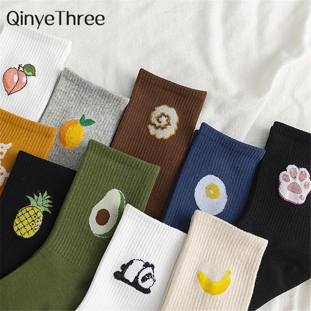 Cute Cartoon Fruit Print Avocado Banana Cherry Peach Panda Giraffe Girls Kawaii Socks Meias Korean Harajuku Colorful Funny Socks