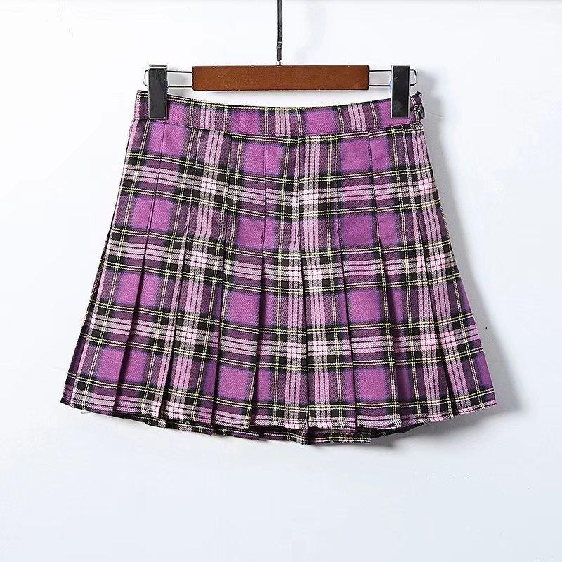 Клетчатая фиолетовая Женская мини-юбка Уличная Высокая талия Боковая кнопка плиссированные юбки сексуальные повседневные harajuku Короткие