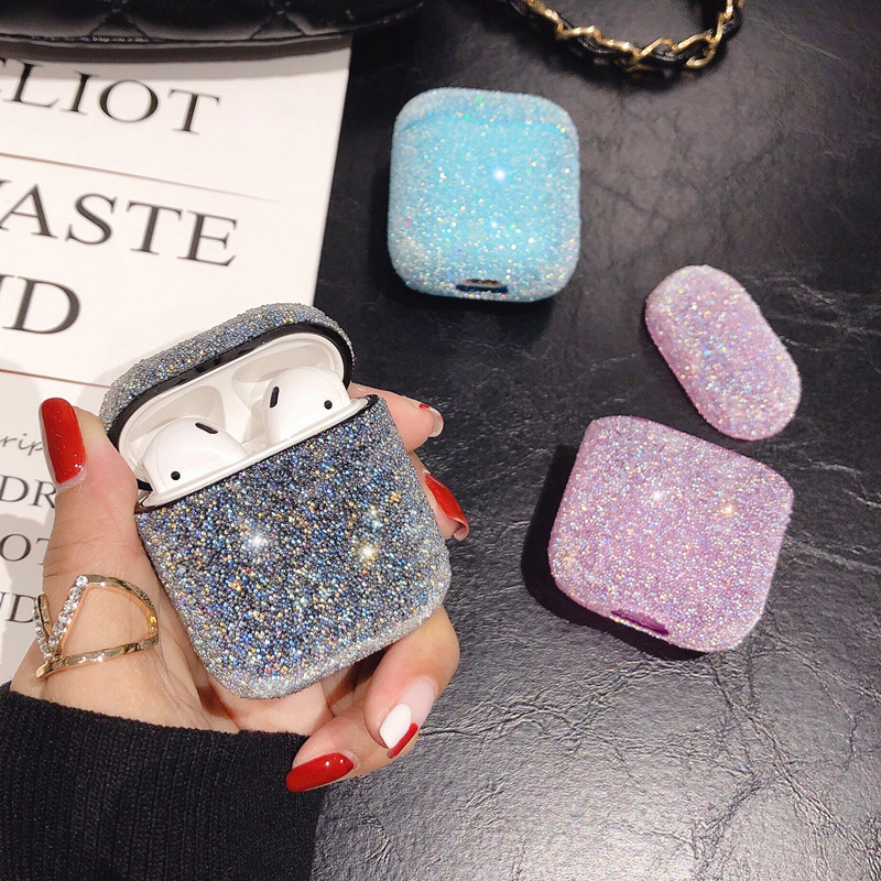 Bling Glitter Sequins Hard Case For Apple Airpods Wireless Bluetooth Earphone Accessories For AirPods 1 2 Headset Crystal Cover