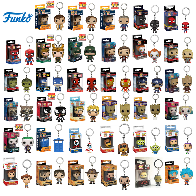 FUNKO POP Pocket Toy Keychain Marvel Iron Man Groot Loki It Pennywise Doctor Who Naruto Collectible Key Ring Model Gifts