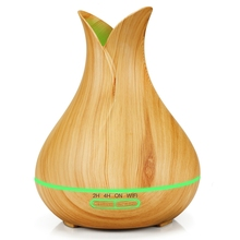 Smart Wifi Air Humidifier Essential Oil Aromatherapy Diffuser with Alexa Google App Voice Control 400Ml Light Wood Grain Eu Plug