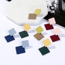 Simple Alloy Drop Earrings For Women Korea Elegant Geometric Square 2 color Dangle Earring Fashion Statement Female Jewelry 2019