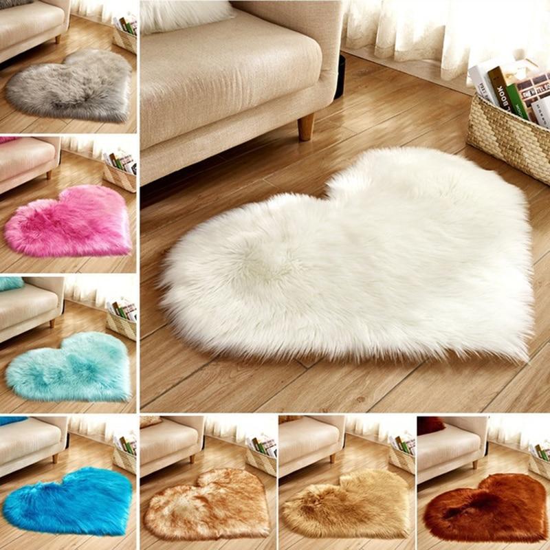 Love Heart Rugs Artificial Wool Hairy Carpet Faux Floor Mat Fur Plain Fluffy Area Rug Soft Living Room Carpet Bedroom Floor Mat