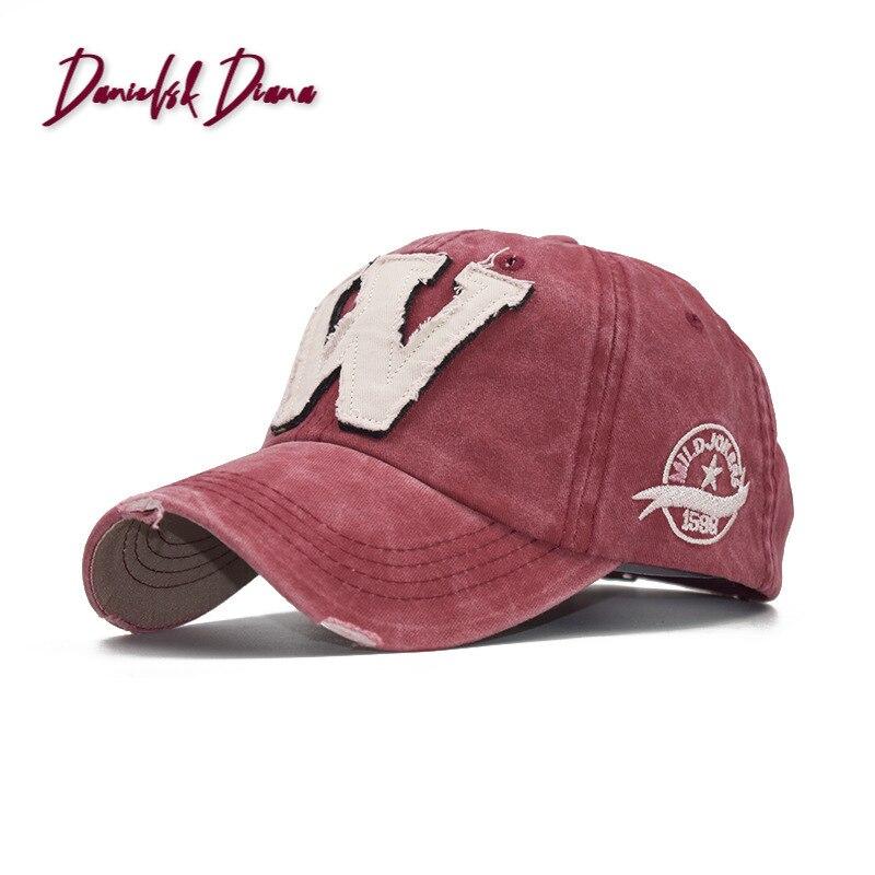 2020 baumwolle Stickerei Brief W Baseball Kappe Snapback Caps Knochen casquette Hut Distressed Tragen Ausgestattet Hut Für Männer Custom Hüte