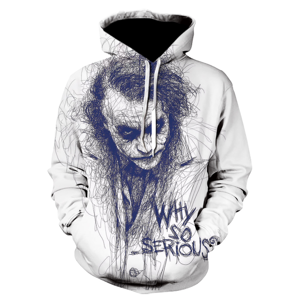 New Off White Joker Sweatshirts Men Brand Hoodies 3D Printing Hoodie Hip Hop Male Casual Funny Tracksuits Clothes  Harajuku Tops