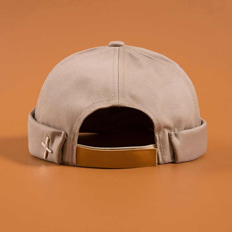 Erkek sokak rahat Docker denizci Biker şapka döngü kadın bere Brimless kap moda Unisex kabak Vintage siyah erkek bere şapkalar