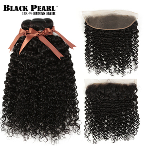 Black Pearl Lace Frontal With Bundles Peruvian Water Wave Bundles With Frontal 100% Remy Human Hair With Closure
