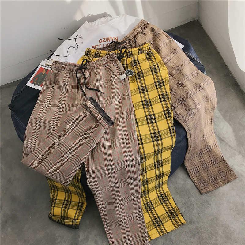 תכליתי קל Harajuku משובץ מכנסיים לנשים מכנסיים 2020 Streetwear אישה הרמון מכנסיים סתיו גבירותיי סיבתי מכנסיים בתוספת גודל