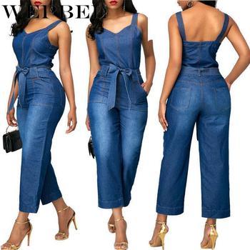 WEPBEL High Waist Brace Denim Playsuits Pocket Wide Strap Belted Jumpsuit Overalls Womens Fashion Sleeveless Romper