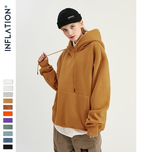 INFLATION 2019 Autumn Mens Thick Fleece Hoodies Hip Hop Pure Hoodies Thick Velvet Fabrics Winter Hoodies For Men Women 167W17 4