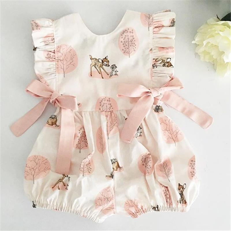 0 24M Summer Clothing Baby Girl Deer Flower Cotton Soft Romper Girls Jumpsuit Fashion Infant Clothes