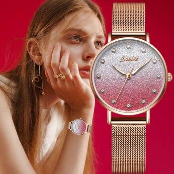 Sunkta Fashion Women Watch Top Brand Luxury Ladies Mesh Belt Ultrathin Watch Stainless Steel Waterproof Quartz Watch Reloj Mujer цена 2017
