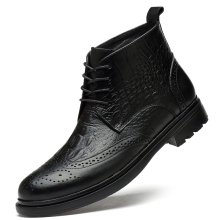 plus size men luxury fashion cow leather boots crocodile pattern brogue shoes carved bullock ankle boot warm cotton winter snow botas sapatos hombre
