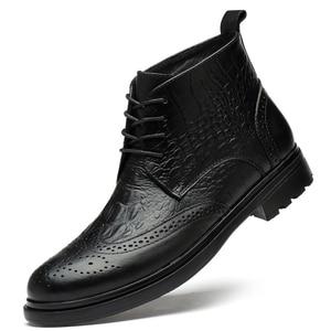 Image 1 - plus size men luxury fashion cow leather boots crocodile pattern brogue shoes carved bullock ankle boot warm cotton winter snow botas sapatos hombre