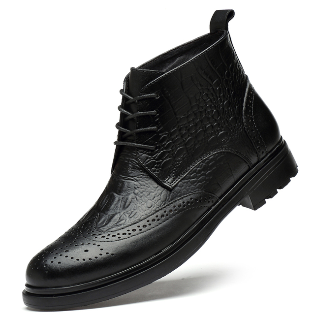 plus size men luxury fashion cow leather boots crocodile pattern brogue shoes carved bullock ankle boot warm cotton winter snow botas sapatos hombre