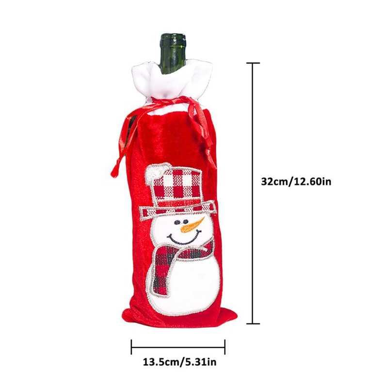 4 Buah Penutup Botol Anggur Natal Santa Manusia Salju Sweater Liburan Botol Sampanye Sampul Xmas Pesta Meja Makan Dekorasi Botol