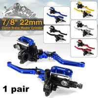 7/8 22cm Motorcycle Handlebar Lever Master Cylinder Levers Hydraulic Brake Pump Clutch Handle Reservoir Set For HONDA Yamaha
