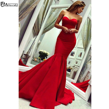 Prom-Dress Evening-Gown Long Satin Sweetheart Mermaid Red with Train Backless Vestidos-De-Noite